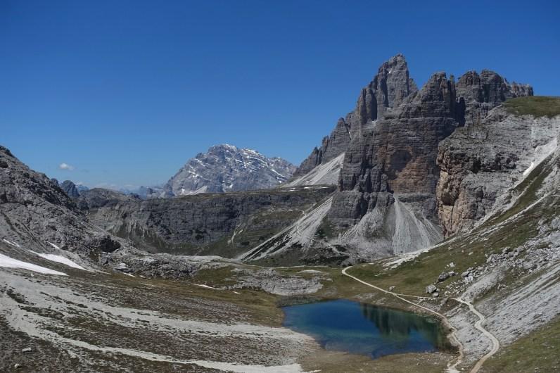 Above Lago di Cengia, looking back toward the Tre Cime and Monte Cristallo