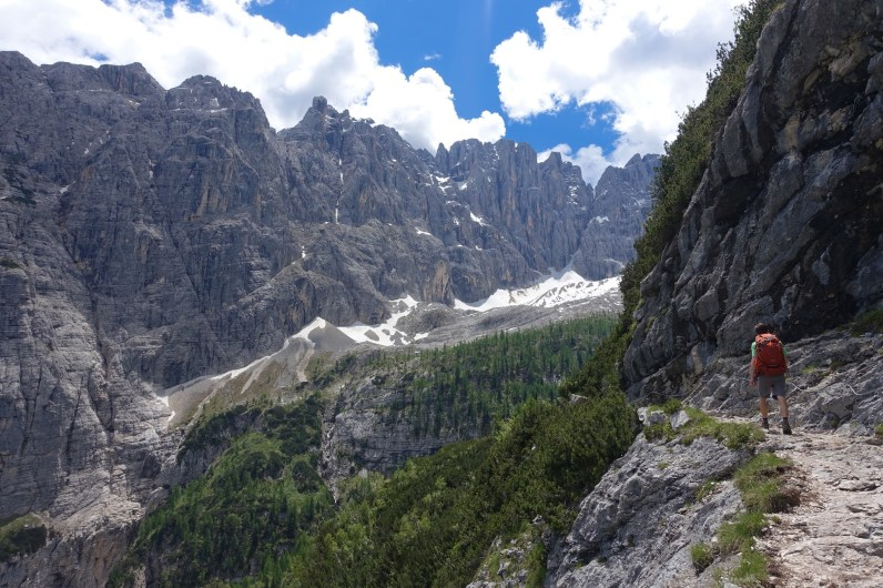 Kyle hikes up a narrow valley on the way to Lago di Sorapiss