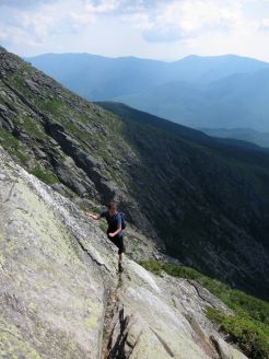 Hiker on Huntington Ravine, Mount Washington, White Mountain National Forest