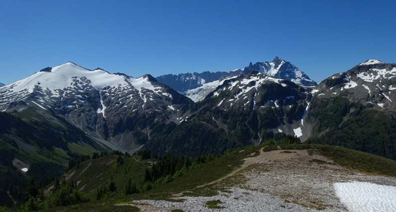 view of Ruth Mountain and Mount Shuksan, from Hannegan Peak