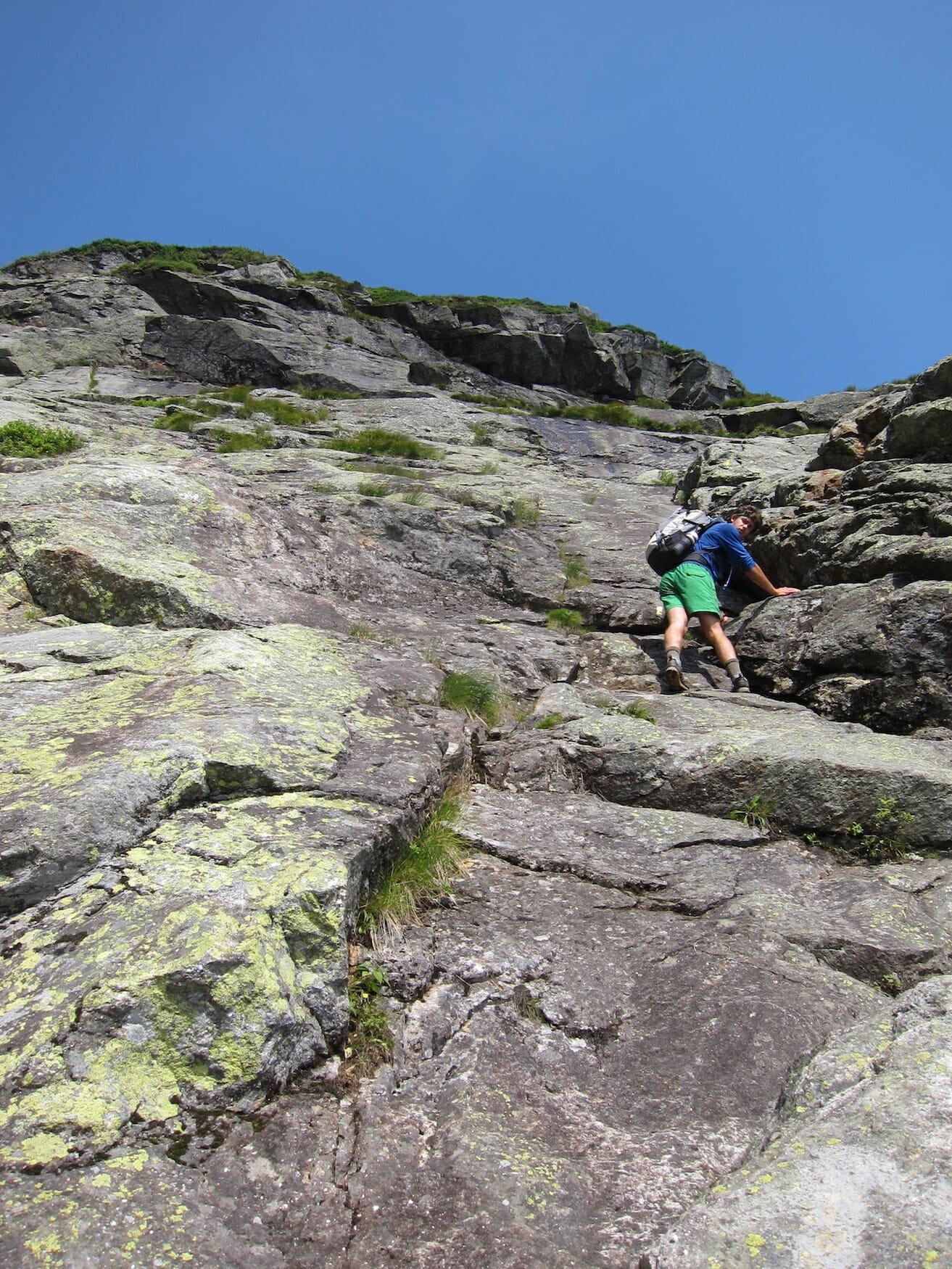 Hiker on Huntington Ravine, Mount Washington, White Mountain National Forest