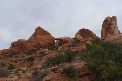 Looking back at Double O Arch, Devil's Garden, Arches National Park