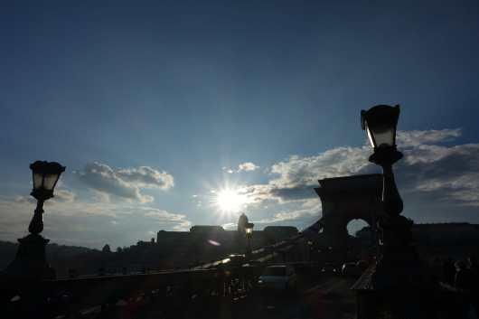 Setting sun from the Chain Bridge