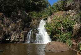 small cascades and pool above Waipo'o Falls