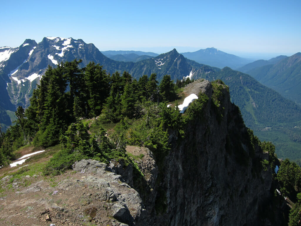 View from Mount Dickerman. Big Four Mountain to the left.