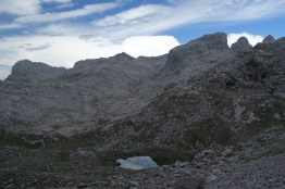 Tarn in a rocky landscape on the Central Massif. Picos de Europa