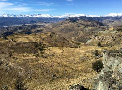 This view from the plateau on the Laguna Altas trail at approximately 13.8km showcases the surrounding mountain range
