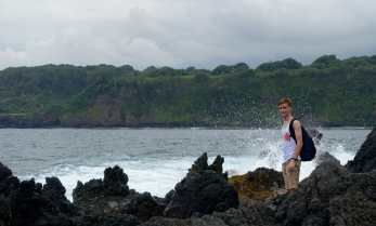 Kyle along the coast in Ke'anae