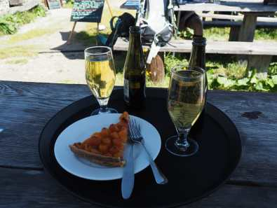 Apricot tart and two Bières Panachée