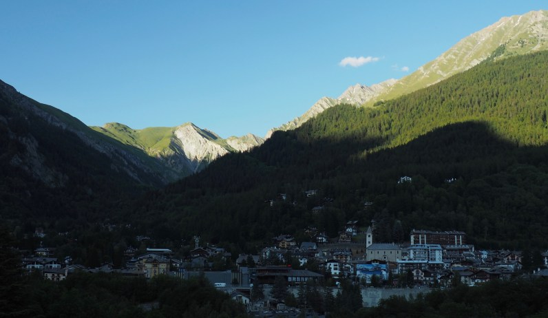 Courmayeur with Mont Saxe in the background