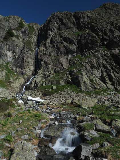 Waterfall along TMB