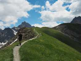 Kyle follows the trail down from Mont de la Saxe