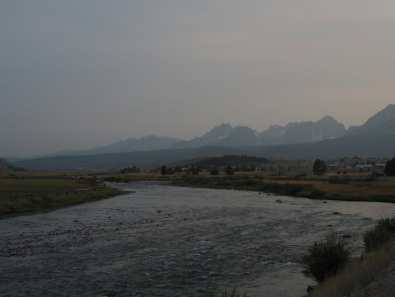 Salmon River and the Sawtooths at dusk
