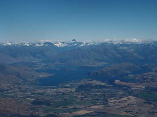 Lake Wanaka and Mountains from the air