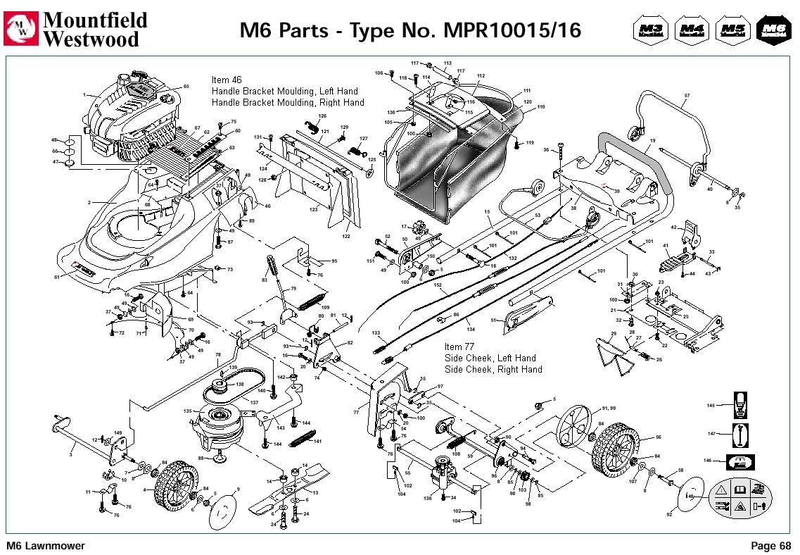 Mpr Mpr Mountfield M6 Pre Machine Diagram For Spare Parts Spares And Spare Parts