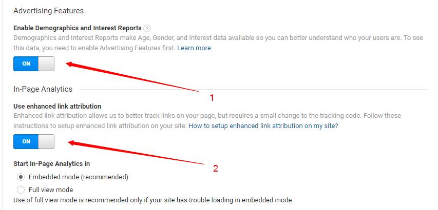 Google Analytics Enable Features