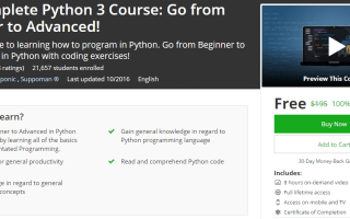 The Complete Python 3 Course: Go from Beginner to Advanced! (100% free cupon Udemy course)