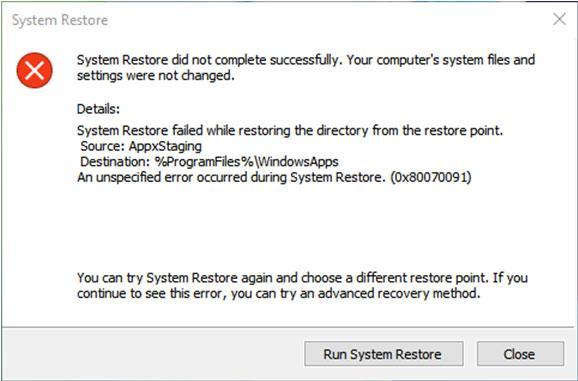 Windows 10 System Restore Failed