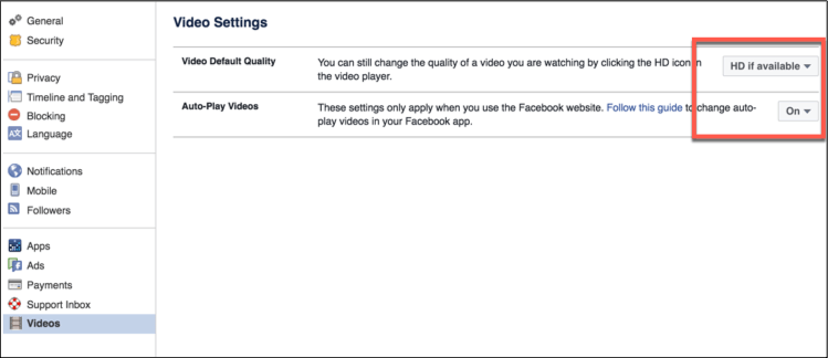 Disable facebook video Auto play