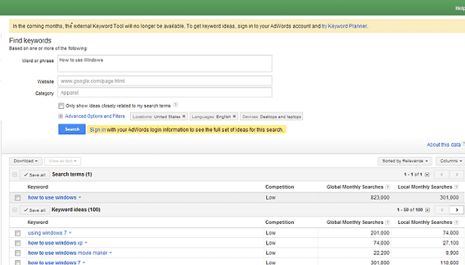 Google Adword Keyword tool