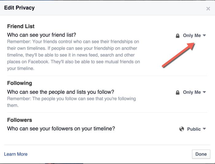 Facebook Friend list Confidentialité