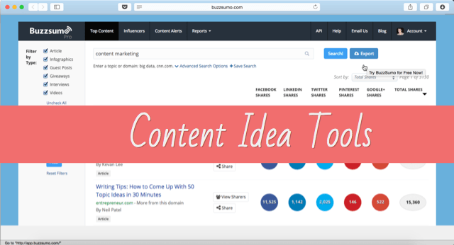 Content idea generation tools