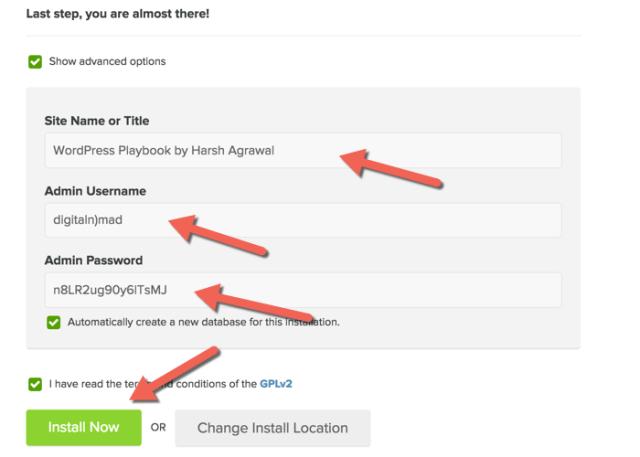 WordPress advanced installation