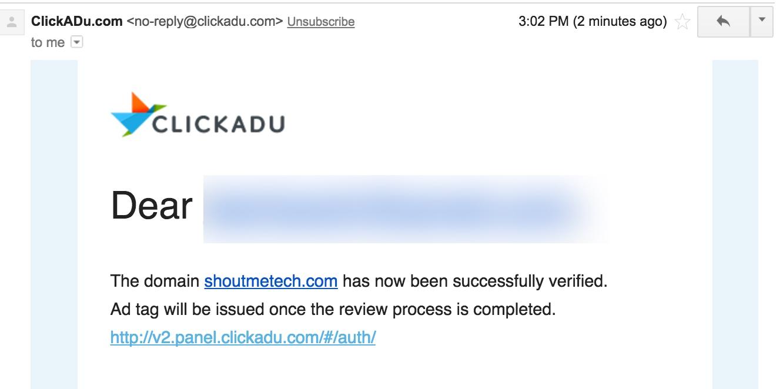 ClickADu Approval