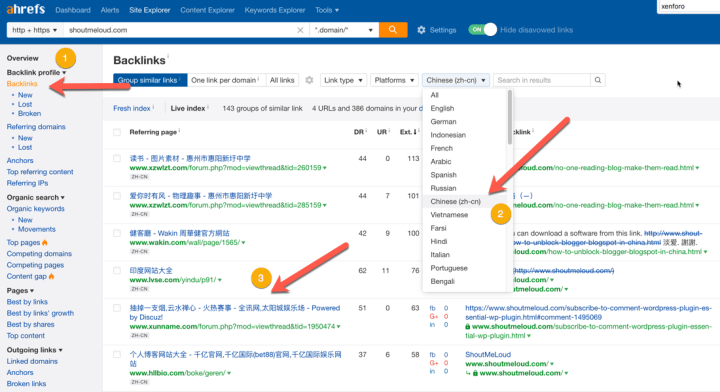 Find Backlinks By Language