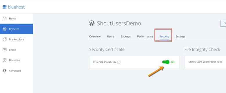 Certificato SSL gratuito Bluehost