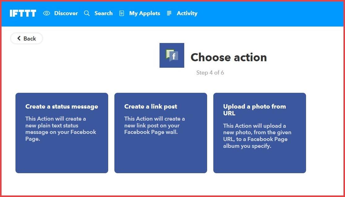 Choose Action in IFTTT