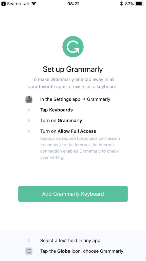 Grammarly iOS app