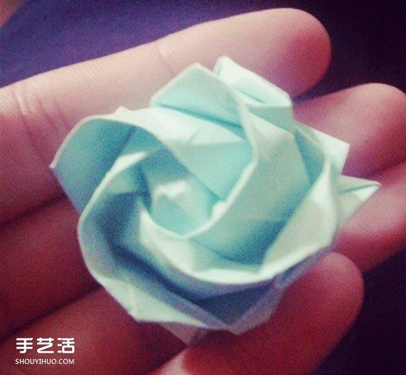 紙玫瑰花的折法步驟 手工立體玫瑰折紙圖解_手藝活網