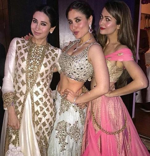 karishma, kareena, amrita at soha's wedding