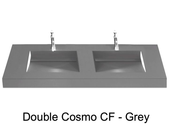 Double Washbasin Top 120 X 50 Cm Channel Basin Cosmo Cf 50
