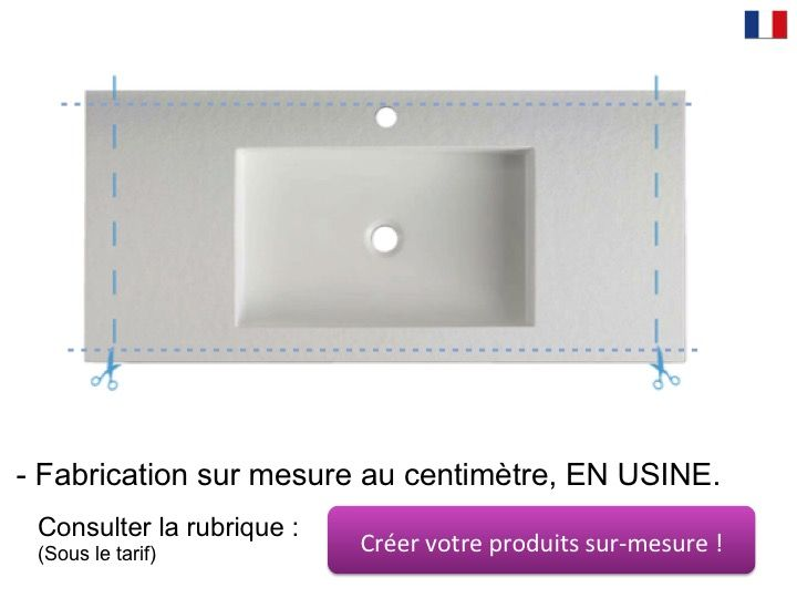 Double Vanity Top 50 X 110 Cm Suspended Or Recessed In Mineral Resin Stil 90 St