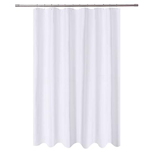 NY HOME Extra Long Shower Curtain Liner Fabric 72 X 96 Inch Hotel Quality Mildew Resistant Washable Water Repellent White Spa Bathroom Curtains With