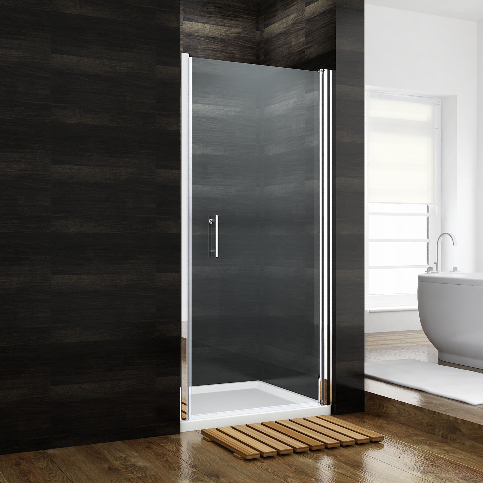 Details About Sunny Shower Semi Frameless Glass Pivot Door 35 1 4 Alcove Shower Chrome Finish