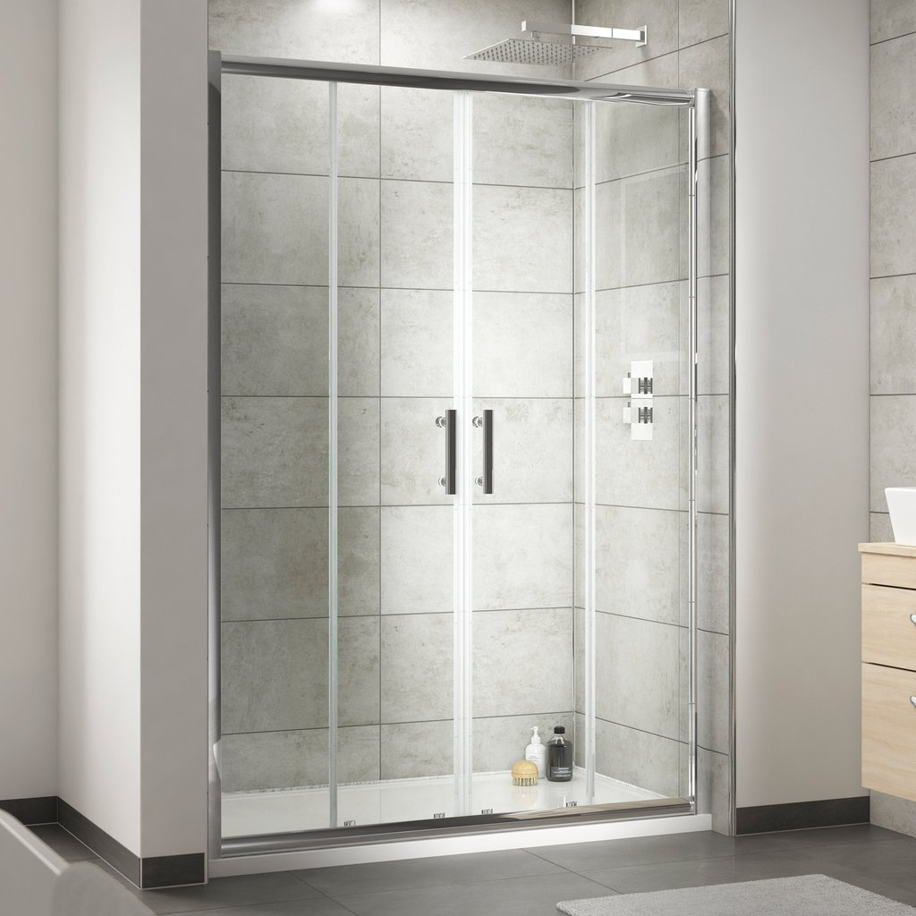 Nuie Pacific 6mm Double Sliding Large Shower Doors 1400 1700mm