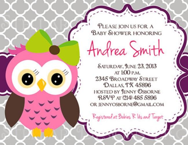 Owl Baby Shower Invitation On Etsy