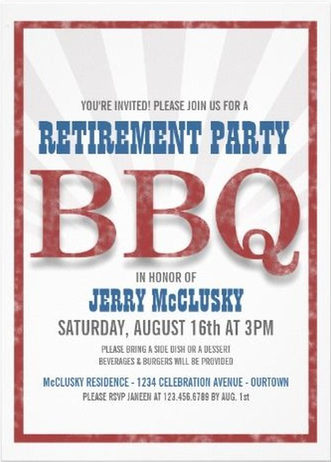 Retirement BBQ Party Invitation Example Invitations Online