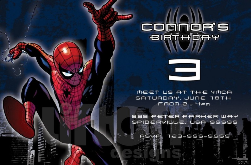 cool spiderman birthday invitation