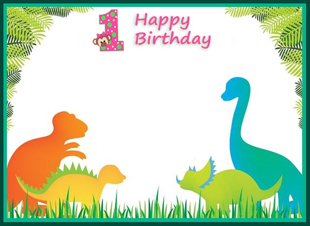 first birthday dinosaur invitation