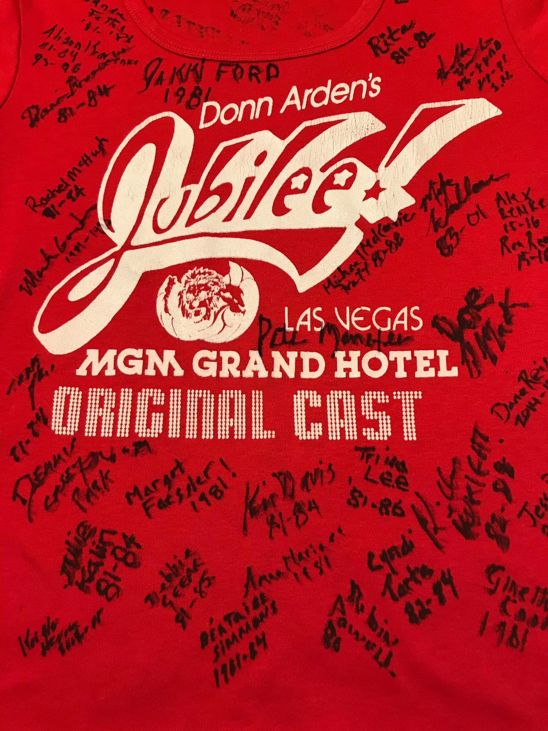 Donn Arden's Jubilee! MGM Grand Hotel Las Vegas 1981, Original Cast t-shirt, courtesy of Rita Pardue