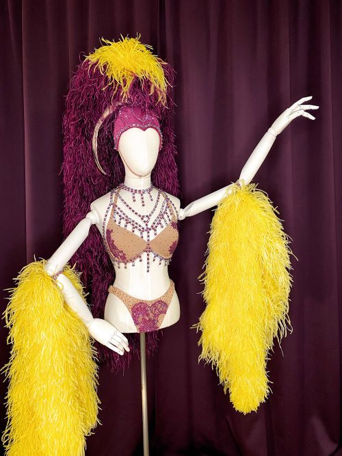 Gazealous Showgirl Costume available to try on during Feathery Revelries hosted by Athena, aka Gazella