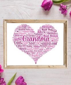 Personalised Grandma Heart Word Art Print Frame