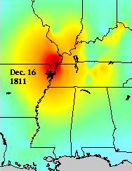 New Madrid shakemap Dec 11, 1811, 2 am