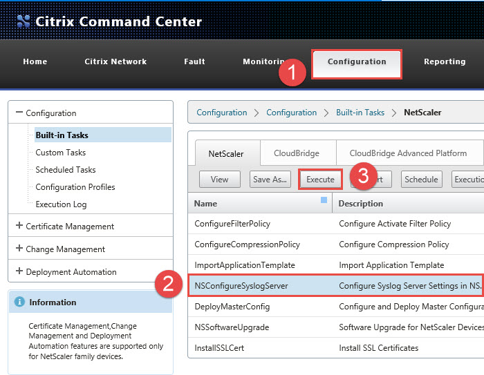 Citrix Command Center NetScaler Syslog