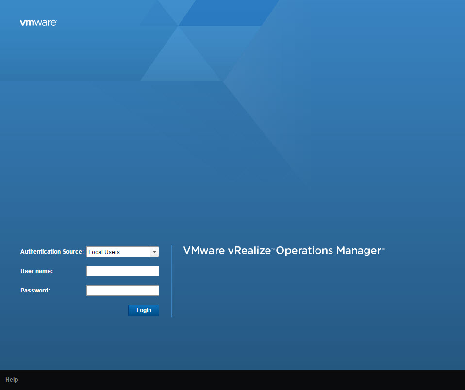 vRealize Operations Manager Login Page