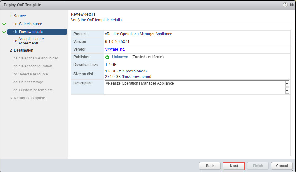 vRealize Operations Manager Review details during OVA deployment